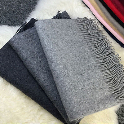 Women Winter Warm Cashmere Blend Solid Long Pashmina Shawl Wrap Scarf
