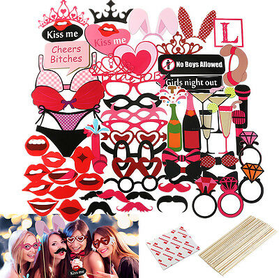 56Pcs Birthday Photo Booth Props On Sticks Mask Wedding Party