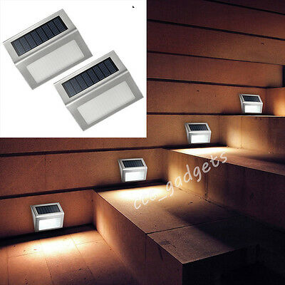 8x Solar Powered Fence Lights Outdoor Garden Shed Walkway Step Wall LED Lighting
