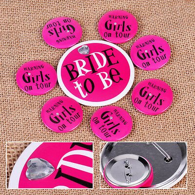 8x Bride to Be Girls on Tour Badges Pin Brooch Bachelorette Shower Wedding Party