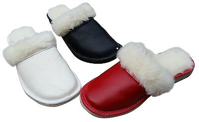Womens  Sheepskin Wool Slippers Slip On  Leather Hand Made Warm Natural Mules