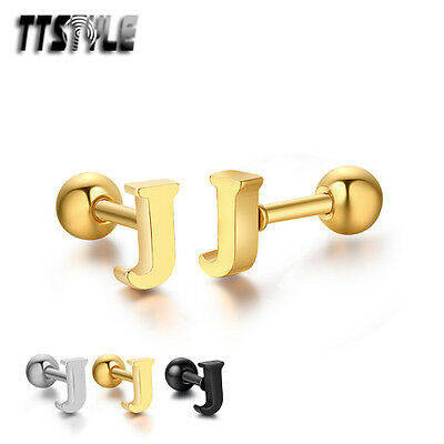 TTstyle Surgical Steel Letter J Fake Ear Cartilage Tragus Earrings 3 Colors NEW