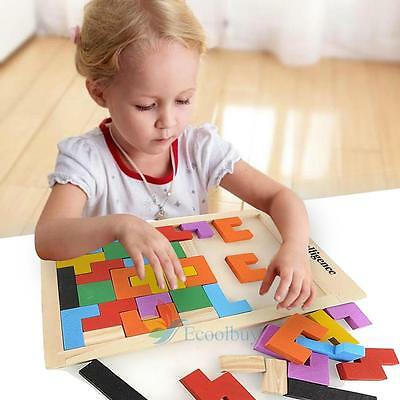 Wooden Tangram Brain Teaser Puzzle Tetris Game Educational Baby Kids Toy Gift #