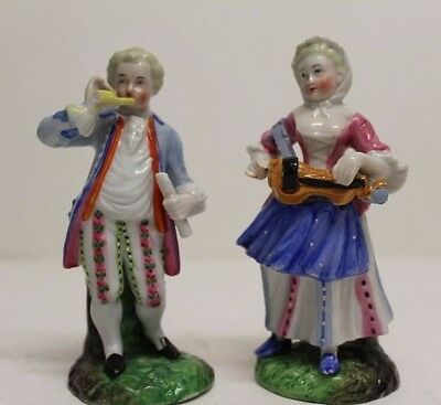 "Antique Pair of Musicians French European Porcelain Figures Figurine, 4.5"" Tall"