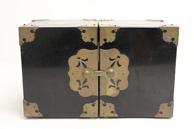 Vintage Asian / Chinese Black Jewelry Box w/ Brass Inlaid Design