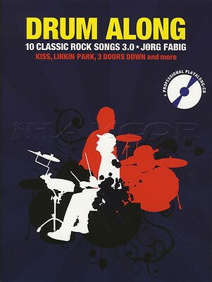 Drum Along 10 Classic Rock Songs 3.0 Sheet Music Book with CD Kiss Scorpions