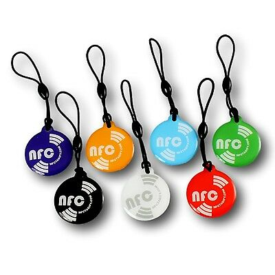 7 X NFC Chip Hang Round Tags NTAG213 Waterproof - Samsung Android Windows