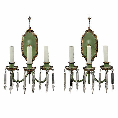Magnificent Pair of Antique Neoclassical Sconces, Crystal Prisms, NSP1067