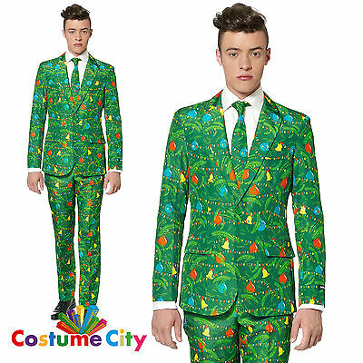 Adult Mens Suitmeister Green Christmas Trees Party Suit Fancy Dress Costume