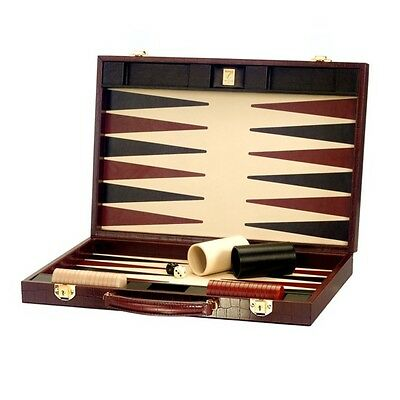 "Aspinal of London 17"" Backgammon Set in Deep Shine Amazon Brown Croc No Pieces"
