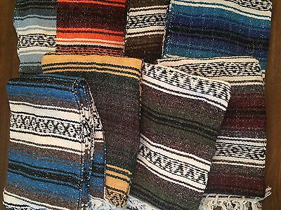 11 Pack - Mexican Falsa Throw Blankets * Yoga * New - Made in Mexico Serapes