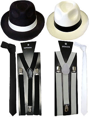 1920s Mens Boys Hat Tie Braces Gangster Roaring Pimp Fancy Dress Accessories