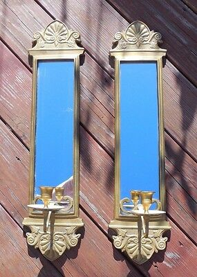 """Vintage Large 24 """" Solid Brass Pair of Mirrored Candle Sconces"""