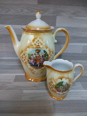 Vintage porcelain coffee pot & milk jug