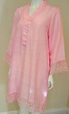Pastel Pink Pure Silk Kurta With Organza And Pearl Embellishment Details