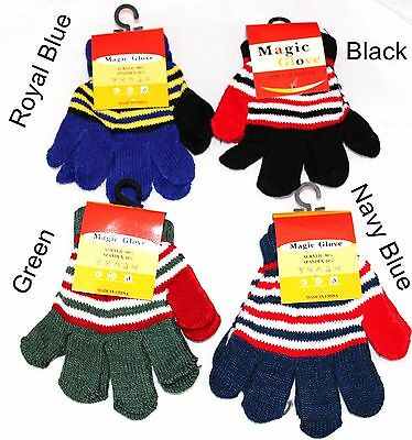 Multi Stripe Childrens Kids Gloves Girls Boys Soft Stretchy Knitted Winter Warm