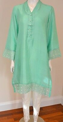 Pure Silk Kurta With Organza And Pearl Details Agha Noor Khaadi Style