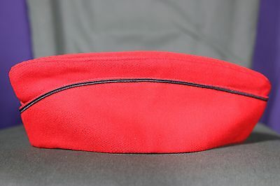 Vintage Hat Uniform Band Military Red Black Piping Assorted Sizes Available EUC