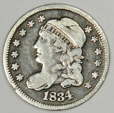 1834 Half Dime - Nice Vf Very Fine - Priced Right!