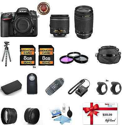 Nikon D7200 Digital SLR Camera 18-55mm VR + 70-300mm lens + Deluxe Accessory Kit