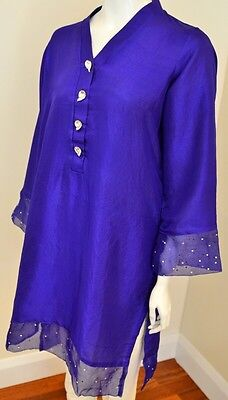 Pure Silk Kurta With Organza And Jewel Details In The Style Of Agha Noor