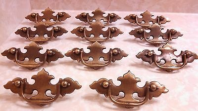 Vintage Brass Drawer Pull Lot Of 11 Pulls All Complete With Their Screws