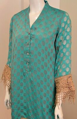 Turquoise Cotton Net Kurta In The Style Of Agha Noor With Lace And Jewel Buttons