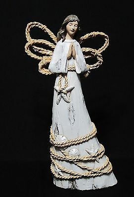 "New Nautical Woodcarved Resin Angel Figurine Statue By Roman, Inc. 9.75"" High"