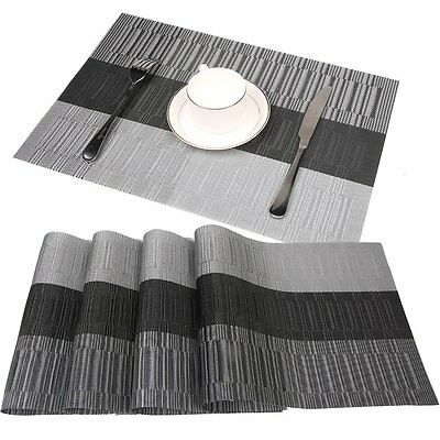 Dining Table Place Mats Set of 4 Washable PVC Heat Resistant, Grey