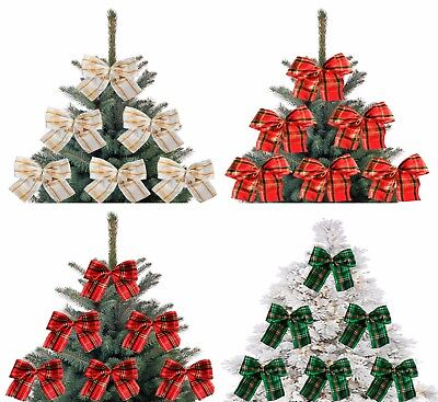 5X Red and Gold Christmas Tree Bows Bow Decoration Gift Ornament Merry XMAS Hand