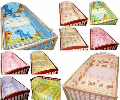 5 Piece Baby Bedding Set Nursery Cot Bed Long All Round 4-sided Bumper