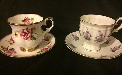 Lot Of Two Fine Bone China Crown Staffordshire England Tea Cup Saucer B911