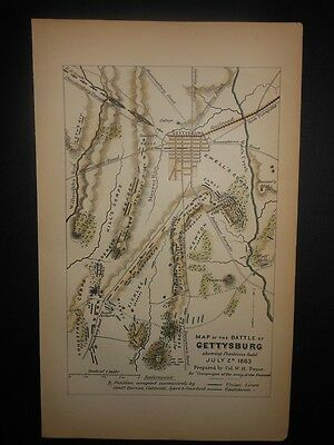 Battle Of Gettysburg Pennsylvania 1866 Civil War Map July 2nd 1863 Hand Colored