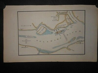 Pennsylvania New Jersey 1777 Revolutionary War Map Ft Mifflin Ft Mercer Mud Is.