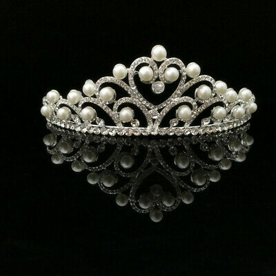 Wedding Prom Bridal Crown Rhinestone Crystal Pearl Heart Sexy Headband Tiara