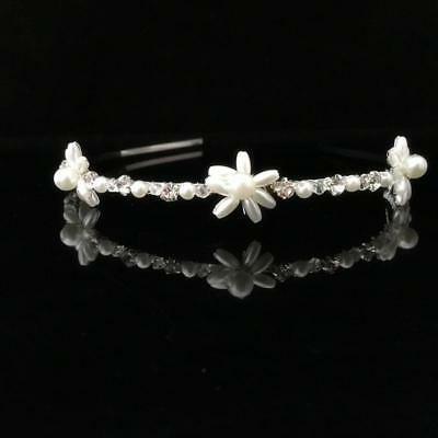 Bridal Wedding Bridesmaid Prom Party Crystal Pearl Flower Headband Tiara