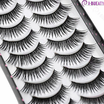 10 Pairs Natural Makeup False Eyelashes Handmade Black Long Thick Eye Lashes 033