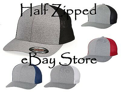 ae83e9112ddfc Flexfit Melange Trucker Cap Fitted Mesh Hat 6311 Baseball Hat One Size 5  Colors