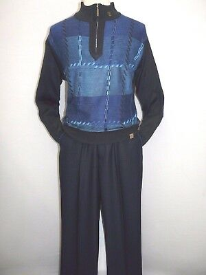 Men Stacy Adams Sweater Leisure Walking Two Piece Set Half Zipper 1314 Navy Blue