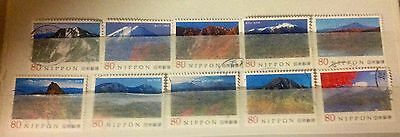 Japan, 2011 mountain of Japan Set, all different stamps, used, Series 1.