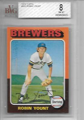 1975 Topps #223 Robin Yount Rookie Card BVG Graded 8   (11/2)