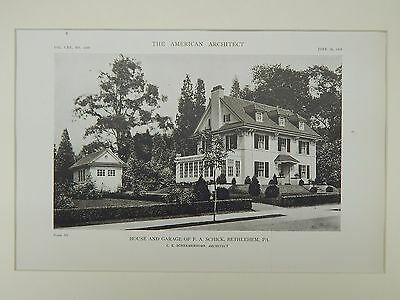 House and Garage of F. A. Schick, Bethlehem, PA, 1919, Lithograph