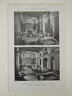 Lounge Views, Allerton House, East 39th Sreet, New York, NY, 1919, Lithograph