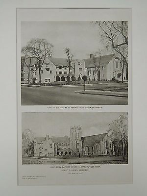 Perspective & Sketch, University Baptist Church, Minneapolis, MN,1919,Lithograph