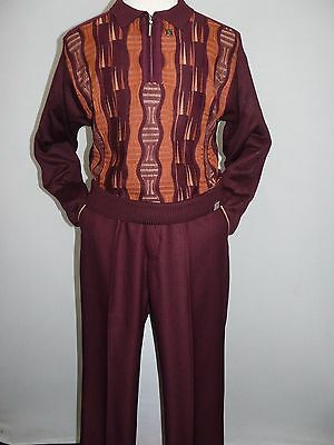 Men Stacy Adams Sweater Leisure Walking Two Piece Set Half Zipper 1330 Maroon