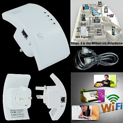 300Mbps Wireless Signal Repeater WiFi Range Extender Router Booster UK Plug New