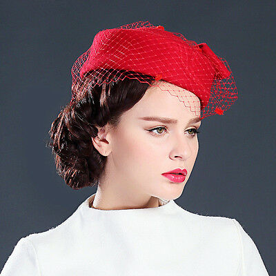 Womens GATSBY Pillbox Hat Womens Fascinator wool Felt Wedding Royal Ascot A080