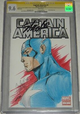 Captain America #1 Sketch Signed Stan Lee Sketched by J. Scott Campbell CGC +2