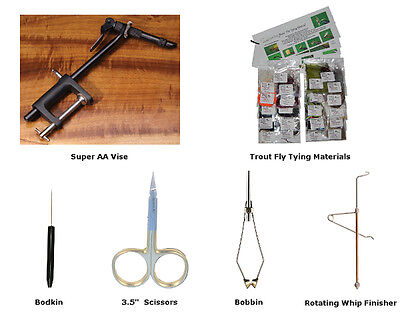 Basic Fly Tying Kits for Trout, Saltwater or Bass/Panfish Fly Fishing Flies