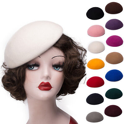 Round Button Wool Felt Pillbox Beret Hat Millinery Fascinator Base Cocktail A048